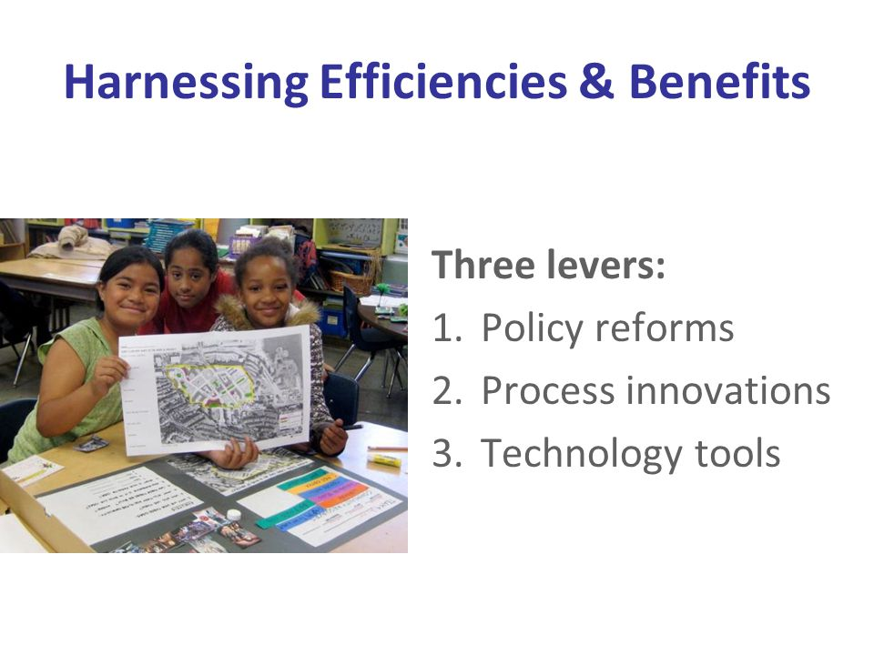 Harnessing Efficiencies & Benefits Three levers: 1.Policy reforms 2.Process innovations 3.Technology tools
