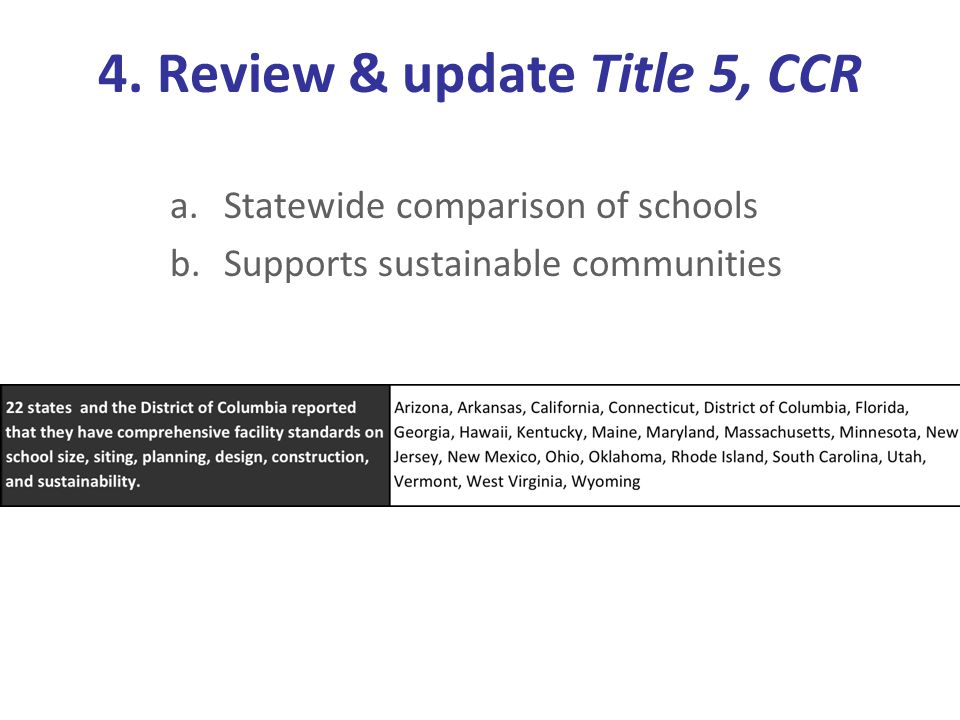 4. Review & update Title 5, CCR a.Statewide comparison of schools b.Supports sustainable communities