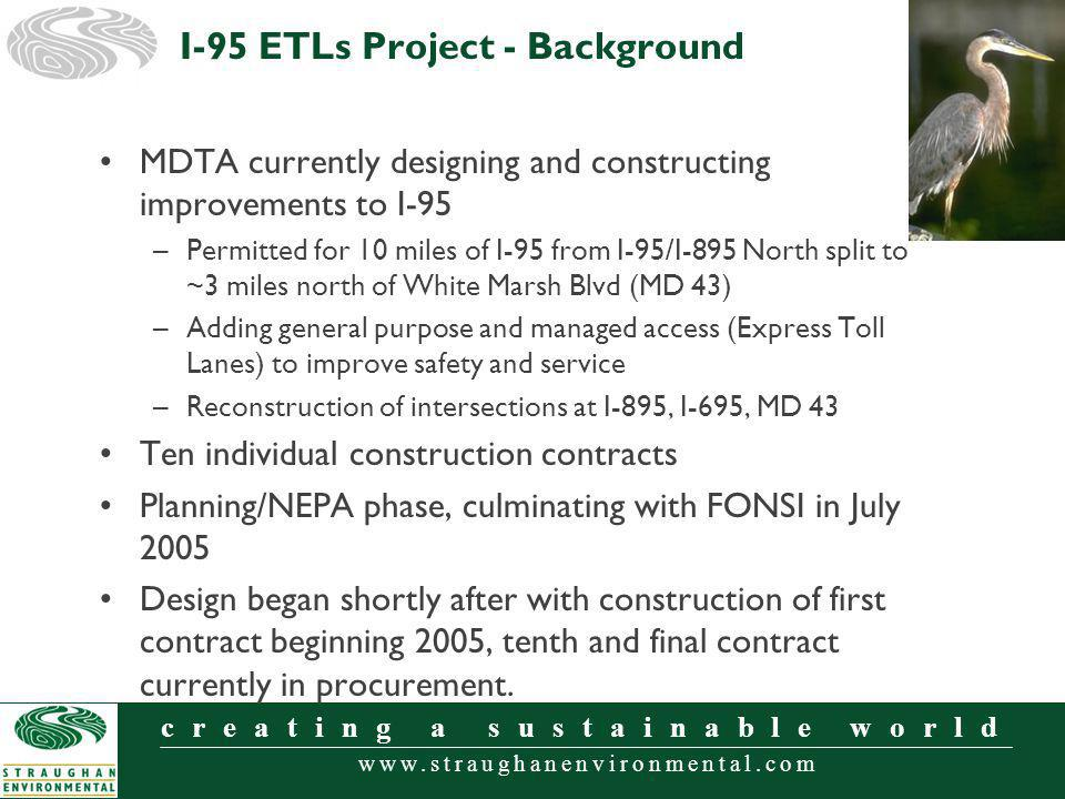 www.straughanenvironmental.com creating a sustainable world MDTA currently designing and constructing improvements to I-95 –Permitted for 10 miles of