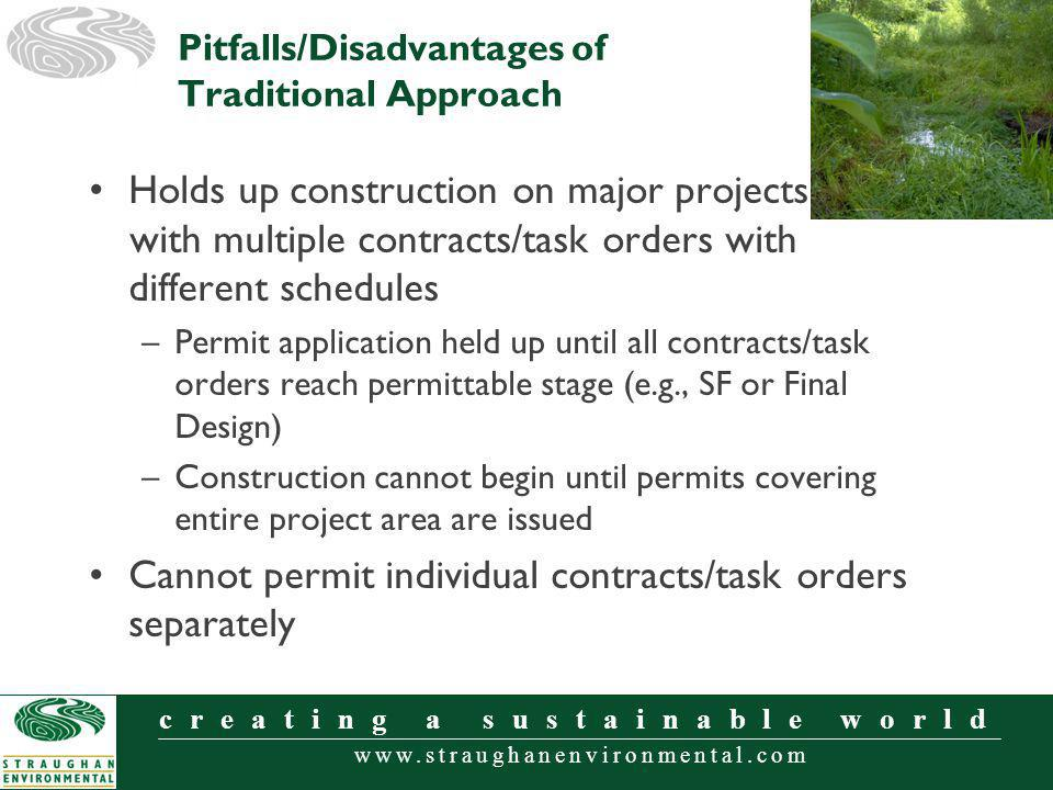 www.straughanenvironmental.com creating a sustainable world Holds up construction on major projects with with multiple contracts/task orders with different schedules –Permit application held up until all contracts/task orders reach permittable stage (e.g., SF or Final Design) –Construction cannot begin until permits covering entire project area are issued Cannot permit individual contracts/task orders separately Pitfalls/Disadvantages of Traditional Approach