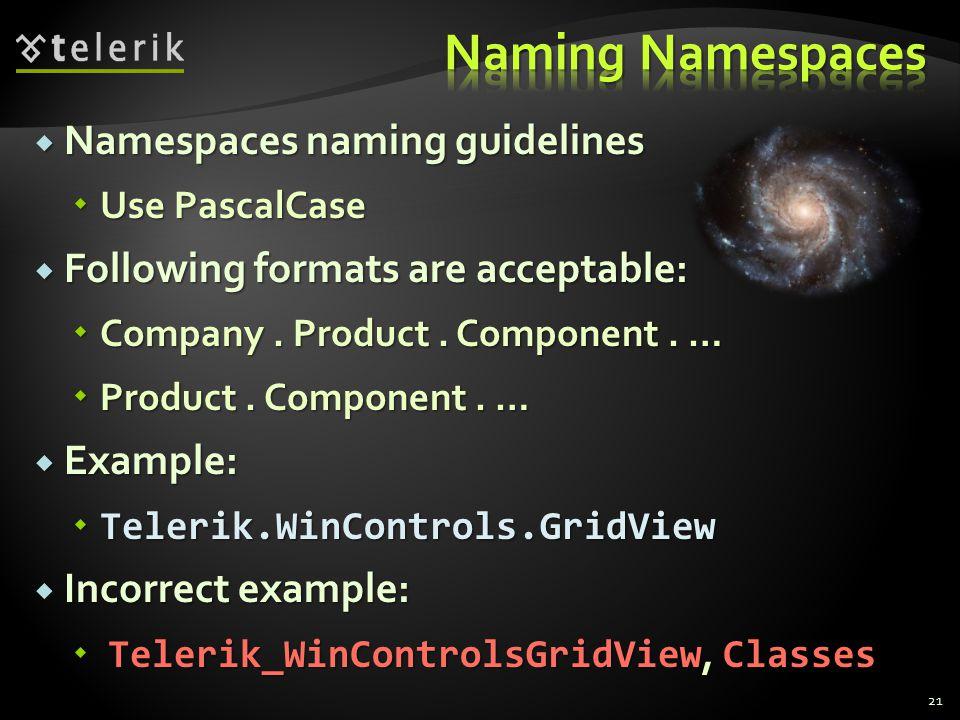 Namespaces naming guidelines Namespaces naming guidelines Use PascalCase Use PascalCase Following formats are acceptable: Following formats are acceptable: Company.