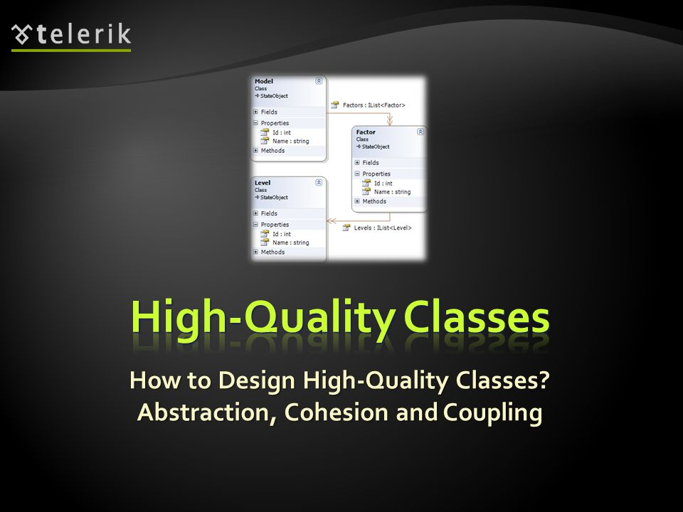 How to Design High-Quality Classes? Abstraction, Cohesion and Coupling