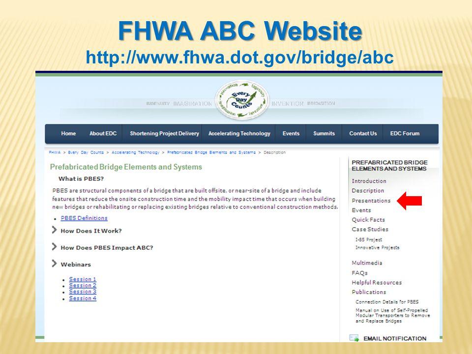 FHWA ABC Website http://www.fhwa.dot.gov/bridge/abc