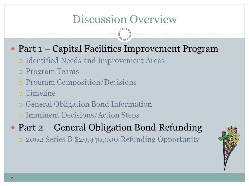 Discussion Overview Part 1 – Capital Facilities Improvement Program Identified Needs and Improvement Areas Program Teams Program Composition/Decisions