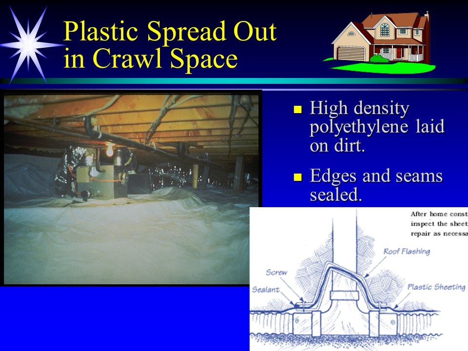 22 Plastic Spread Out in Crawl Space n High density polyethylene laid on dirt.