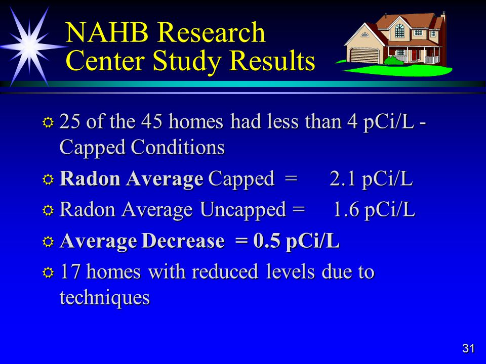 31 NAHB Research Center Study Results 25 of the 45 homes had less than 4 pCi/L - Capped Conditions 25 of the 45 homes had less than 4 pCi/L - Capped Conditions Radon Average Capped = 2.1 pCi/L Radon Average Capped = 2.1 pCi/L Radon Average Uncapped = 1.6 pCi/L Radon Average Uncapped = 1.6 pCi/L Average Decrease = 0.5 pCi/L Average Decrease = 0.5 pCi/L 17 homes with reduced levels due to techniques 17 homes with reduced levels due to techniques