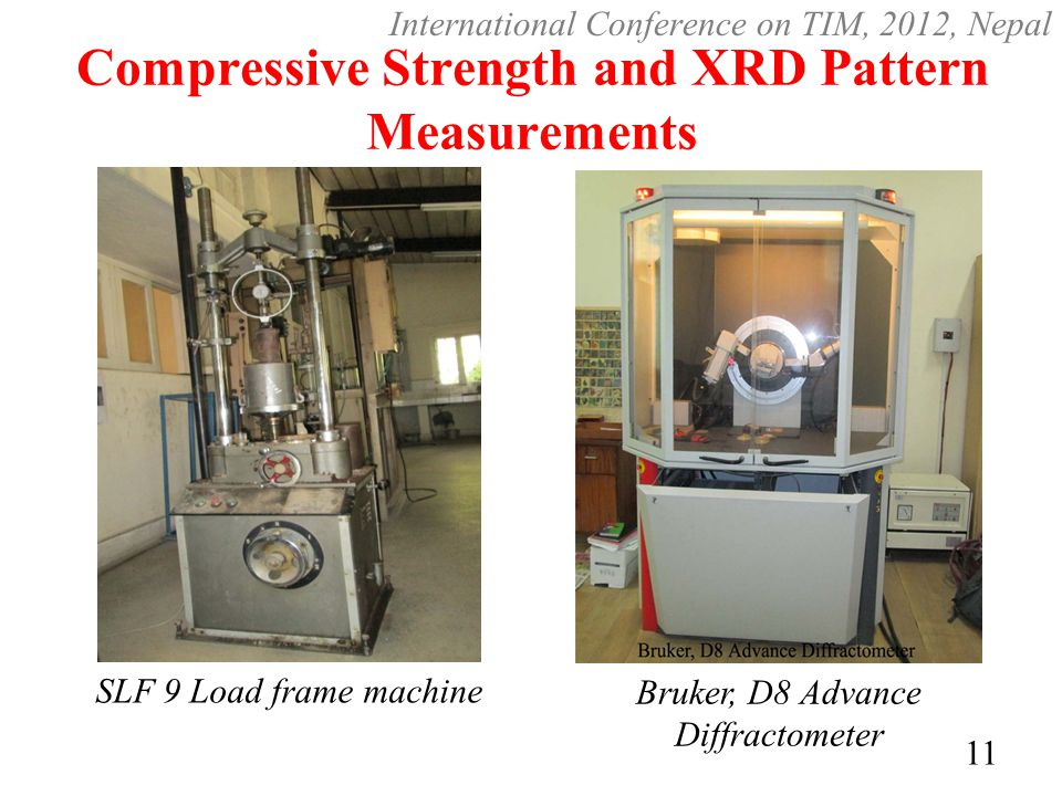 Compressive Strength and XRD Pattern Measurements SLF 9 Load frame machine Bruker, D8 Advance Diffractometer 11 International Conference on TIM, 2012, Nepal