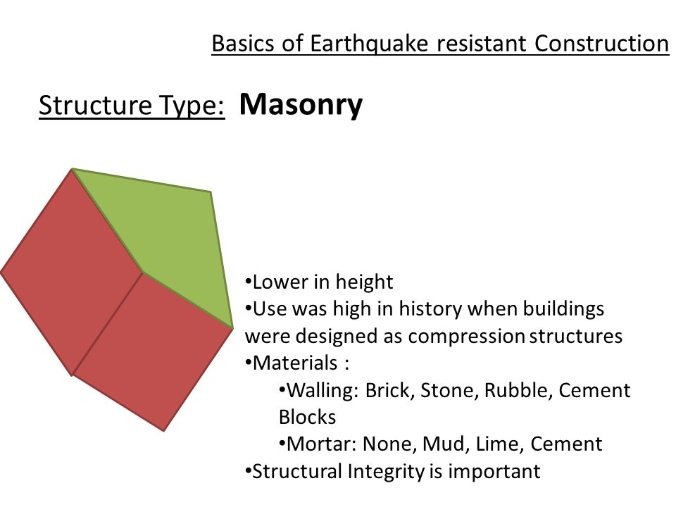 Basics of Earthquake resistant Construction Structure Type: Masonry Lower in height Use was high in history when buildings were designed as compression structures Materials : Walling: Brick, Stone, Rubble, Cement Blocks Mortar: None, Mud, Lime, Cement Structural Integrity is important