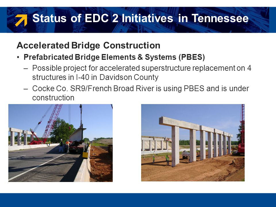 Accelerated Bridge Construction Prefabricated Bridge Elements & Systems (PBES) –Possible project for accelerated superstructure replacement on 4 struc