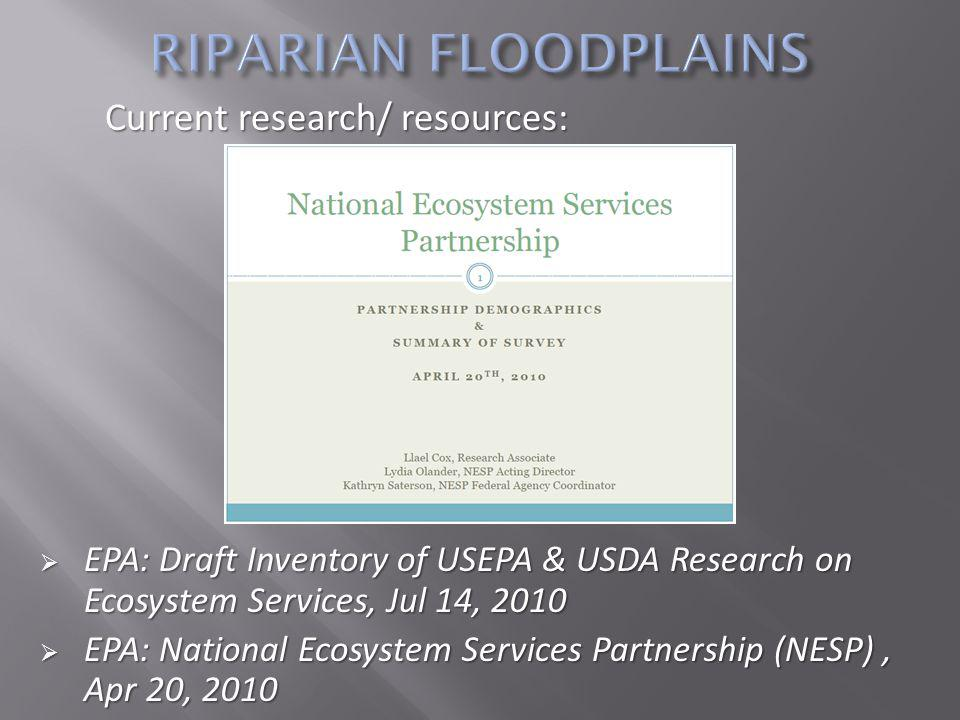 EPA: Draft Inventory of USEPA & USDA Research on Ecosystem Services, Jul 14, 2010 EPA: Draft Inventory of USEPA & USDA Research on Ecosystem Services, Jul 14, 2010 EPA: National Ecosystem Services Partnership (NESP), Apr 20, 2010 EPA: National Ecosystem Services Partnership (NESP), Apr 20, 2010 Current research/ resources: