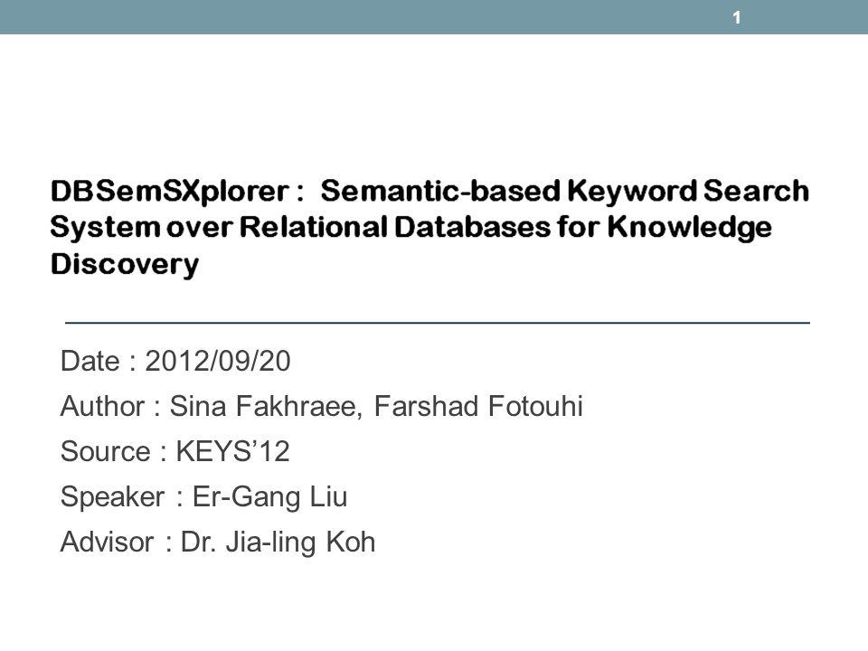 Date : 2012/09/20 Author : Sina Fakhraee, Farshad Fotouhi Source : KEYS12 Speaker : Er-Gang Liu Advisor : Dr. Jia-ling Koh 1