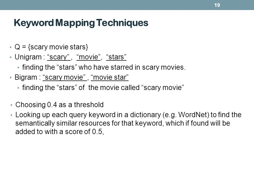 19 Keyword Mapping Techniques Choosing 0.4 as a threshold Looking up each query keyword in a dictionary (e.g.