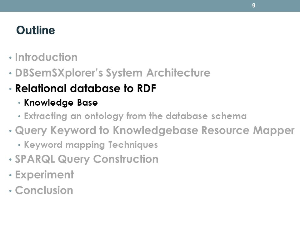 Outline Introduction DBSemSXplorers System Architecture Relational database to RDF Knowledge Base Extracting an ontology from the database schema Quer