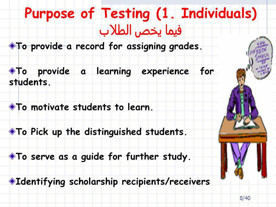 Purpose of Testing (1. Individuals) فيما يخص الطلاب To provide a record for assigning grades. To provide a learning experience for students. To motiva