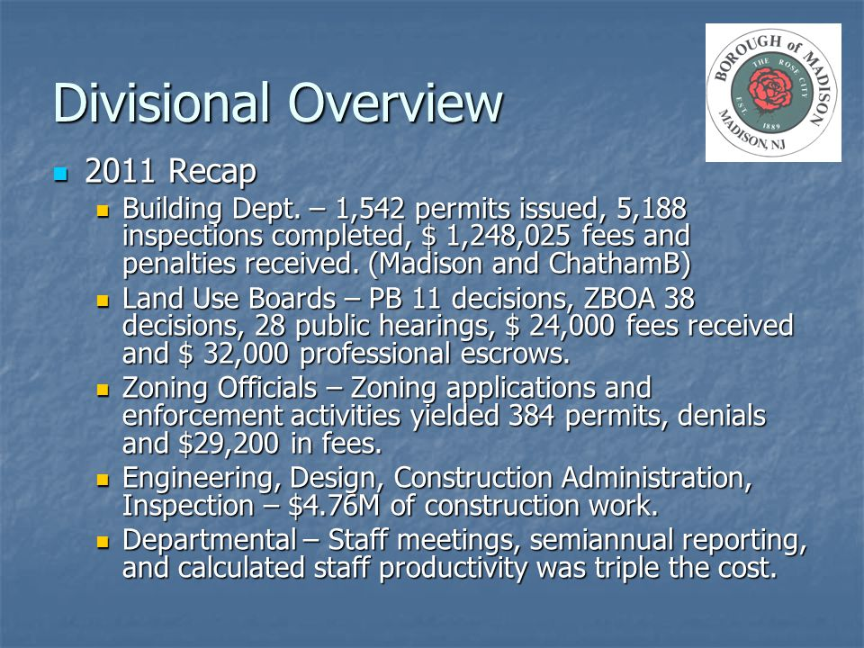 Divisional Overview 2011 Recap 2011 Recap Building Dept. – 1,542 permits issued, 5,188 inspections completed, $ 1,248,025 fees and penalties received.