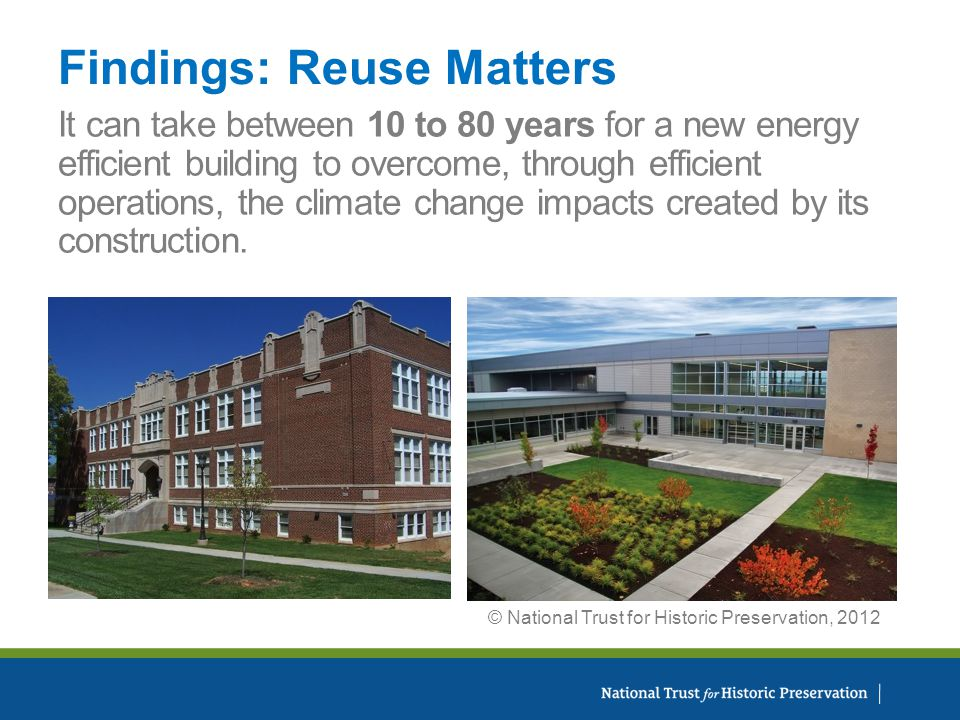 It can take between 10 to 80 years for a new energy efficient building to overcome, through efficient operations, the climate change impacts created by its construction.