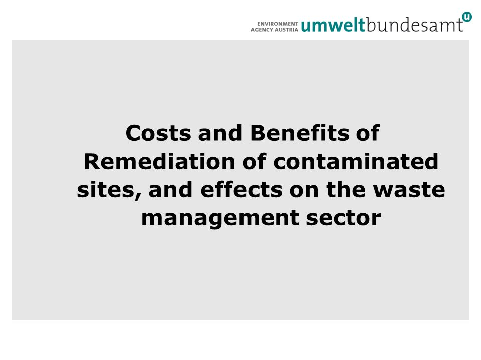 Costs and Benefits of Remediation of contaminated sites, and effects on the waste management sector