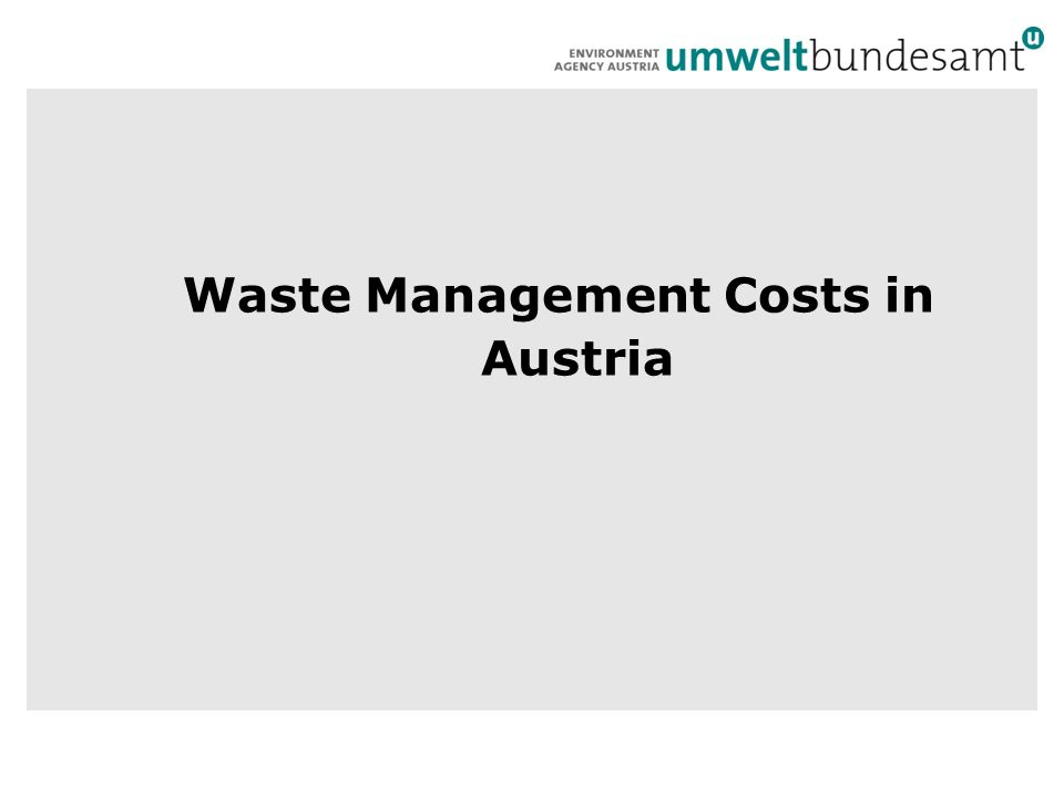 Waste Management Costs in Austria