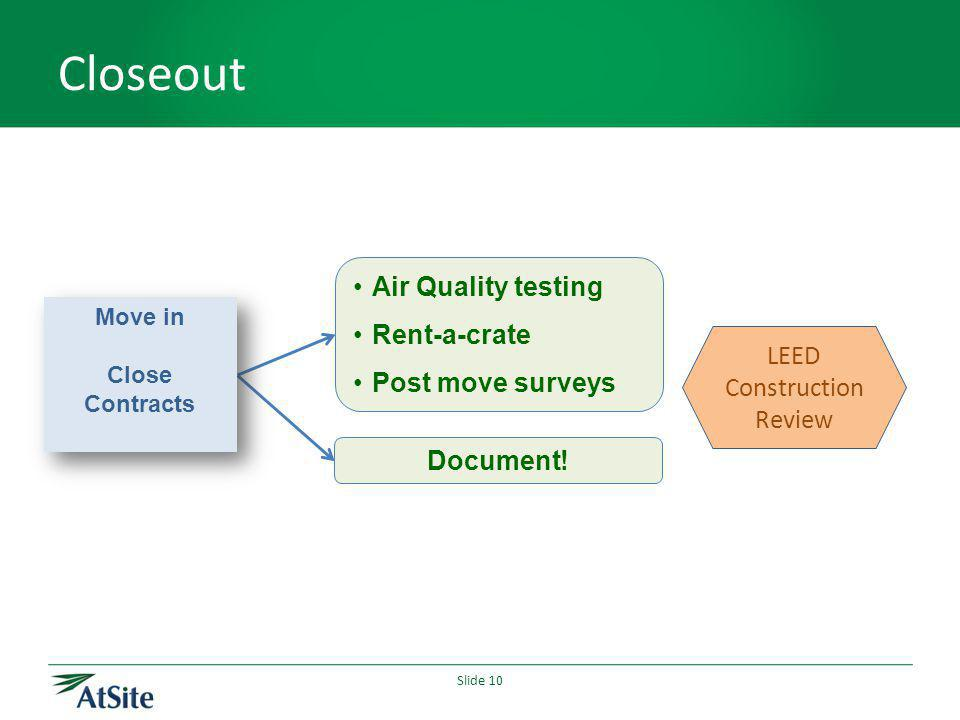 Slide 10 Closeout Air Quality testing Rent-a-crate Post move surveys Document.