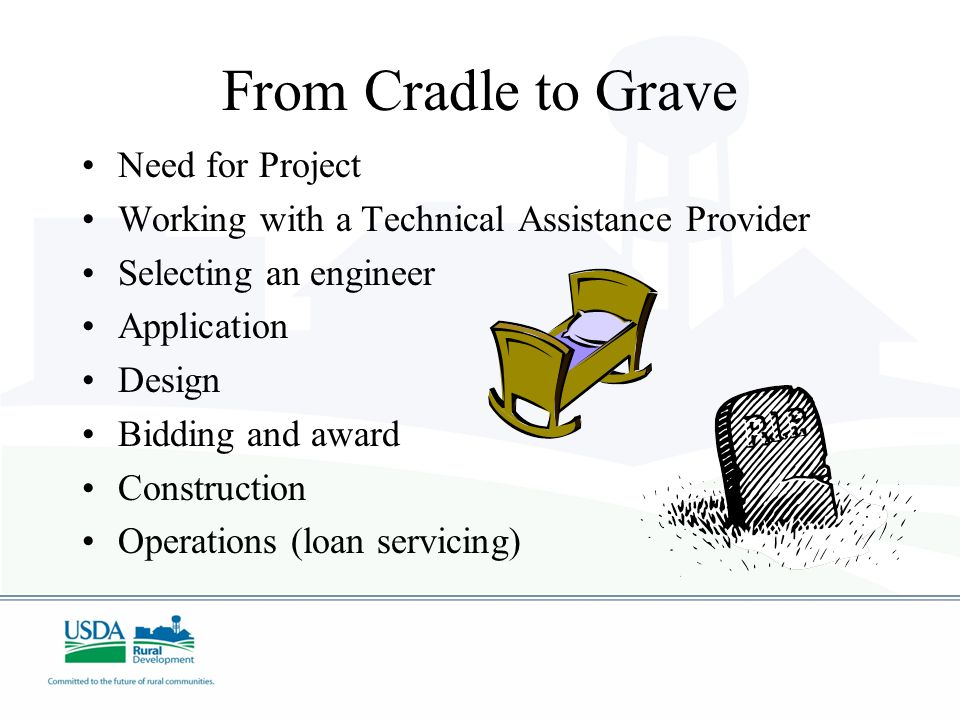 From Cradle to Grave Need for Project Working with a Technical Assistance Provider Selecting an engineer Application Design Bidding and award Construction Operations (loan servicing)