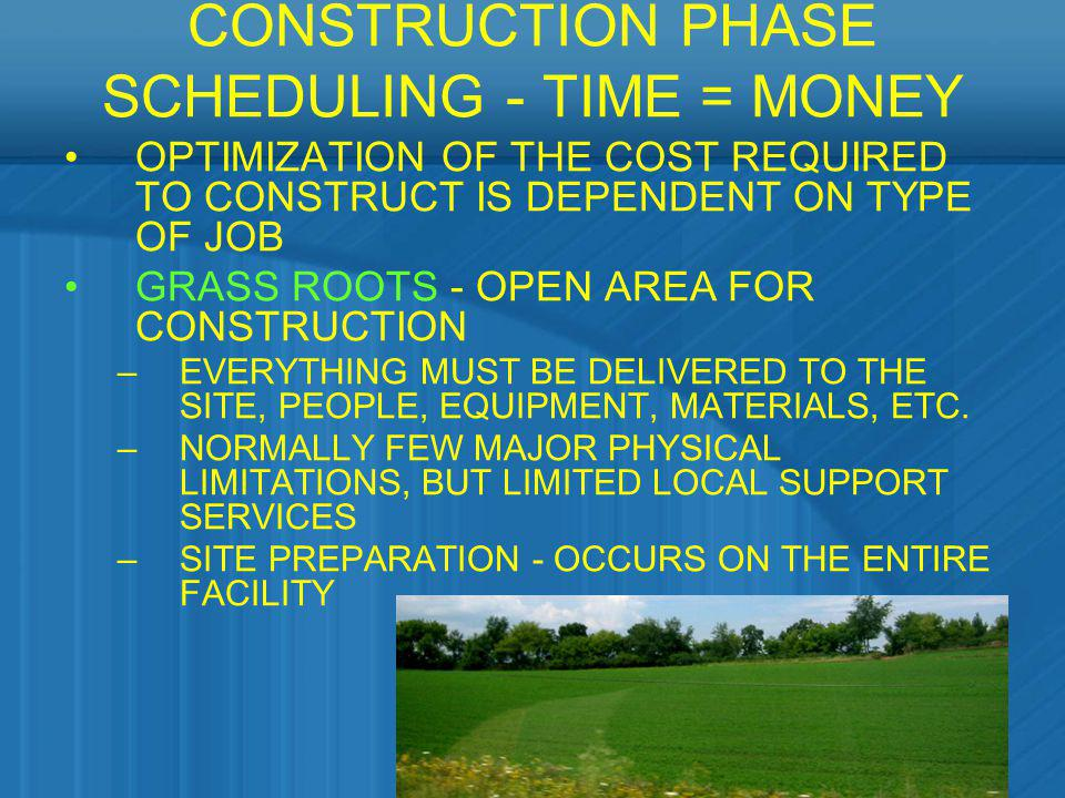 CONSTRUCTION PHASE SCHEDULING - TIME = MONEY OPTIMIZATION OF THE COST REQUIRED TO CONSTRUCT IS DEPENDENT ON TYPE OF JOB GRASS ROOTS - OPEN AREA FOR CO