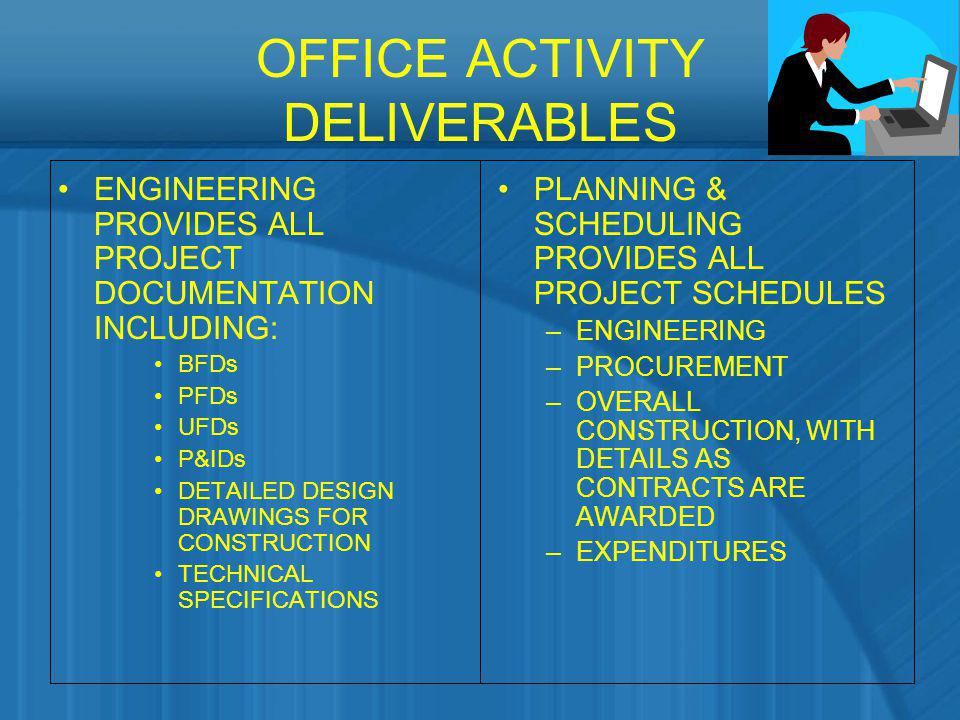 OFFICE ACTIVITY DELIVERABLES ENGINEERING PROVIDES ALL PROJECT DOCUMENTATION INCLUDING: BFDs PFDs UFDs P&IDs DETAILED DESIGN DRAWINGS FOR CONSTRUCTION