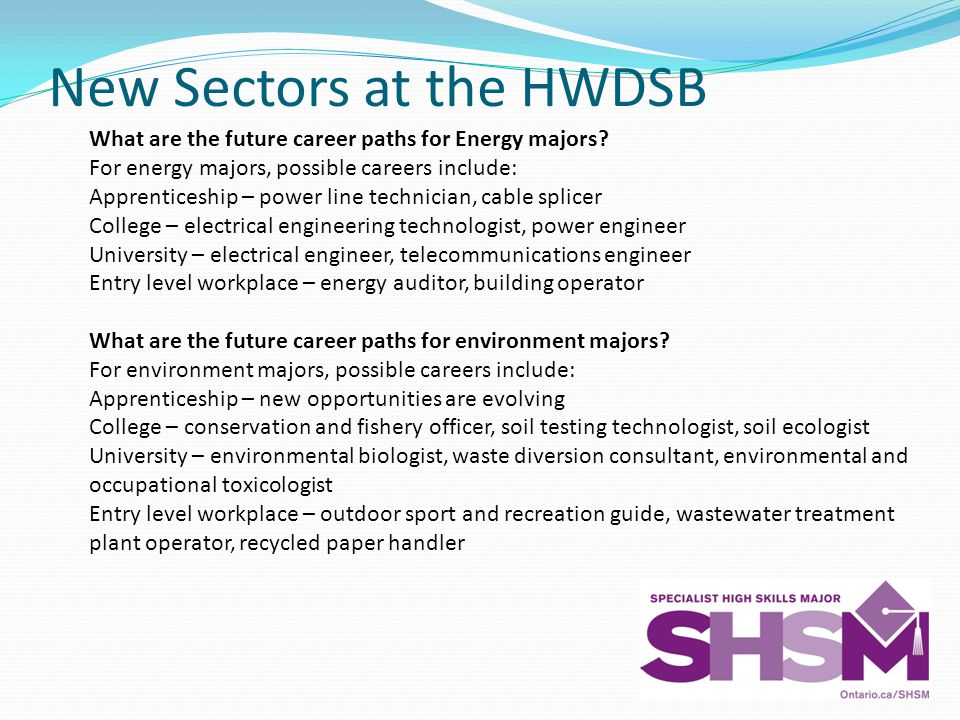 New Sectors at the HWDSB What are the future career paths for Energy majors.
