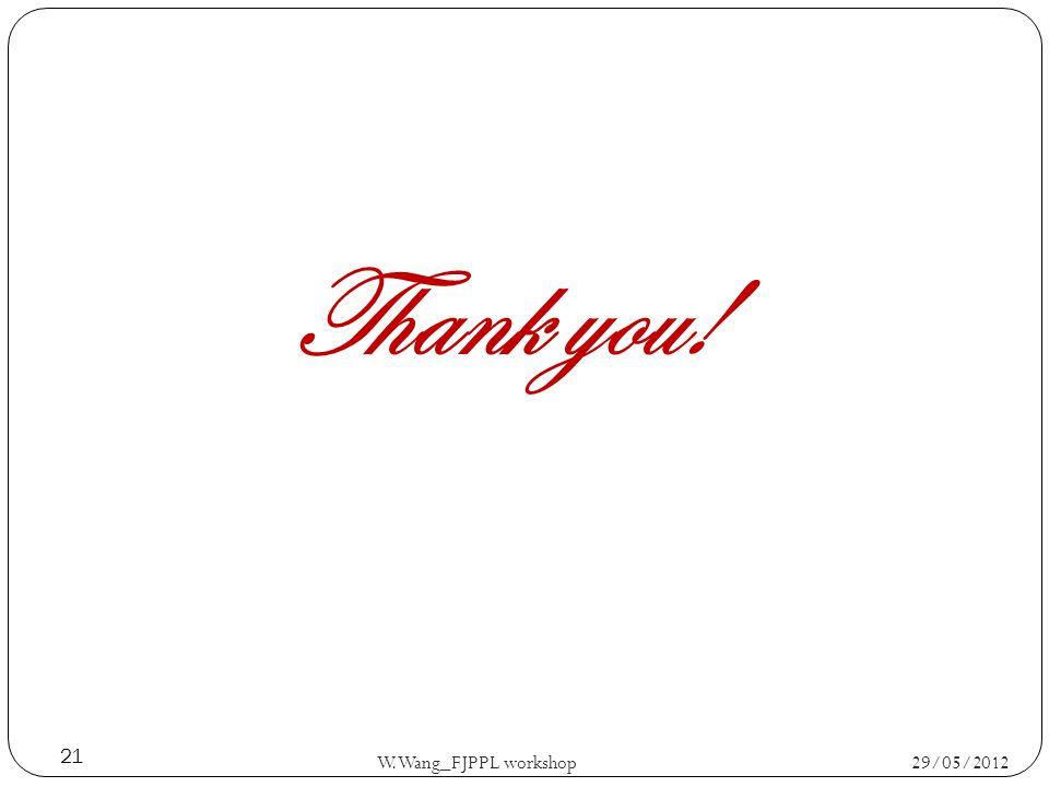29/05/2012 W.Wang_FJPPL workshop 21 Thank you!