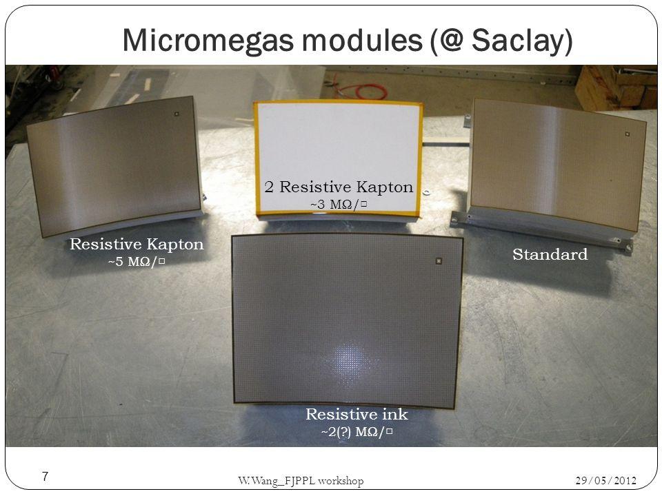 Resistive ink ~2( ) MΩ/ Resistive Kapton ~5 MΩ/ Standard 2 Resistive Kapton ~3 MΩ/ Micromegas modules (@ Saclay) 29/05/2012 W.Wang_FJPPL workshop 7