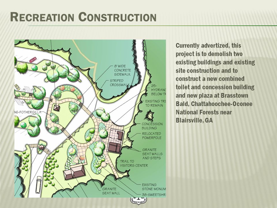 R ECREATION C ONSTRUCTION Currently advertized, this project is to demolish two existing buildings and existing site construction and to construct a n