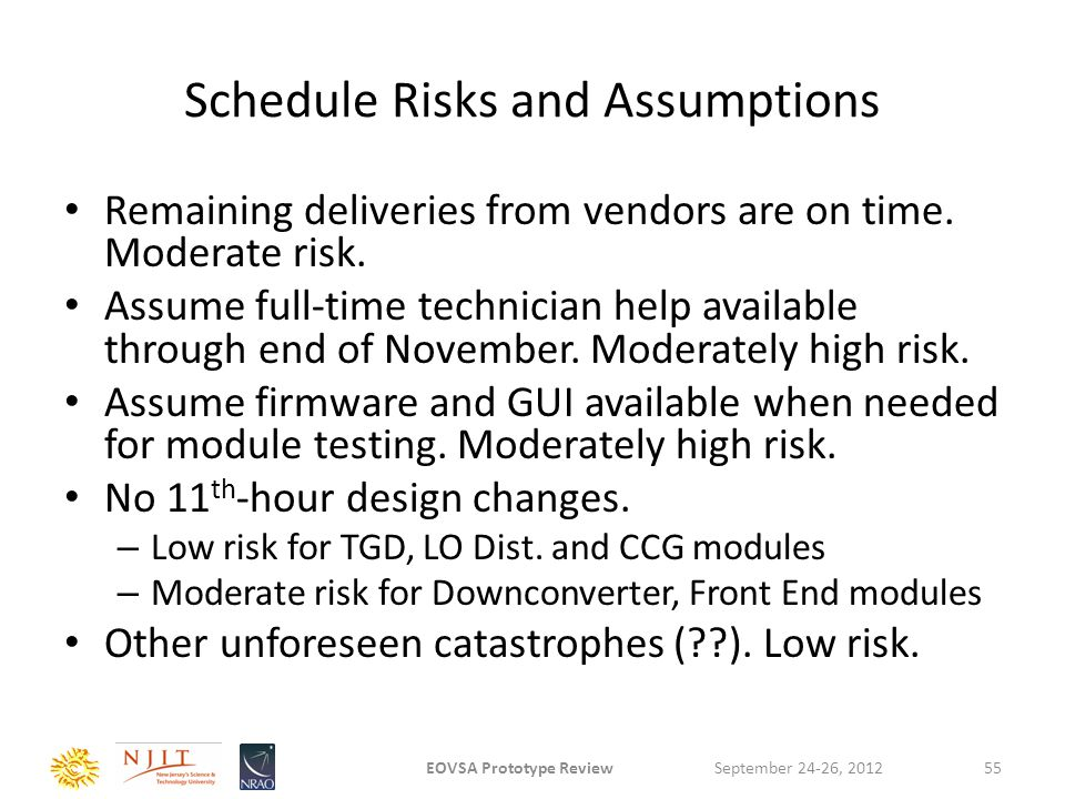 Schedule Risks and Assumptions Remaining deliveries from vendors are on time. Moderate risk. Assume full-time technician help available through end of