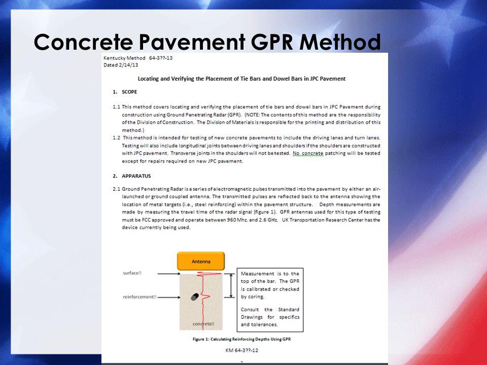Concrete Pavement GPR Method