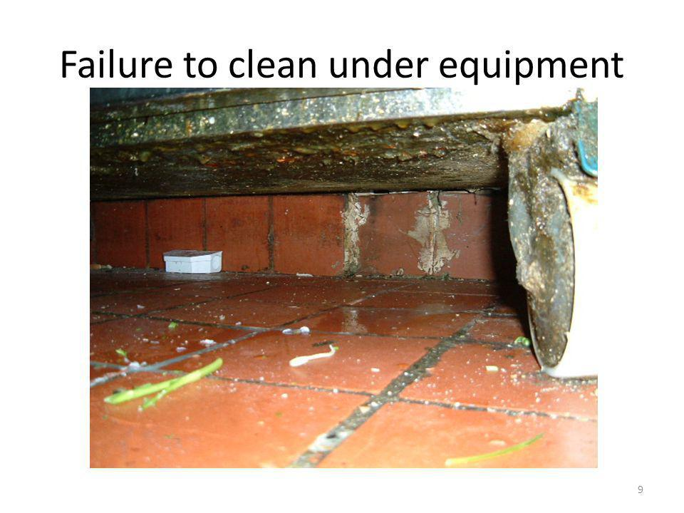 Failure to clean under equipment 9