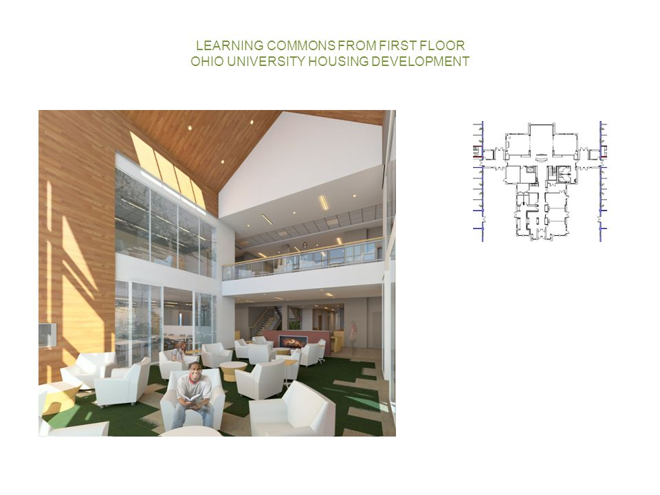 LEARNING COMMONS FROM FIRST FLOOR OHIO UNIVERSITY HOUSING DEVELOPMENT