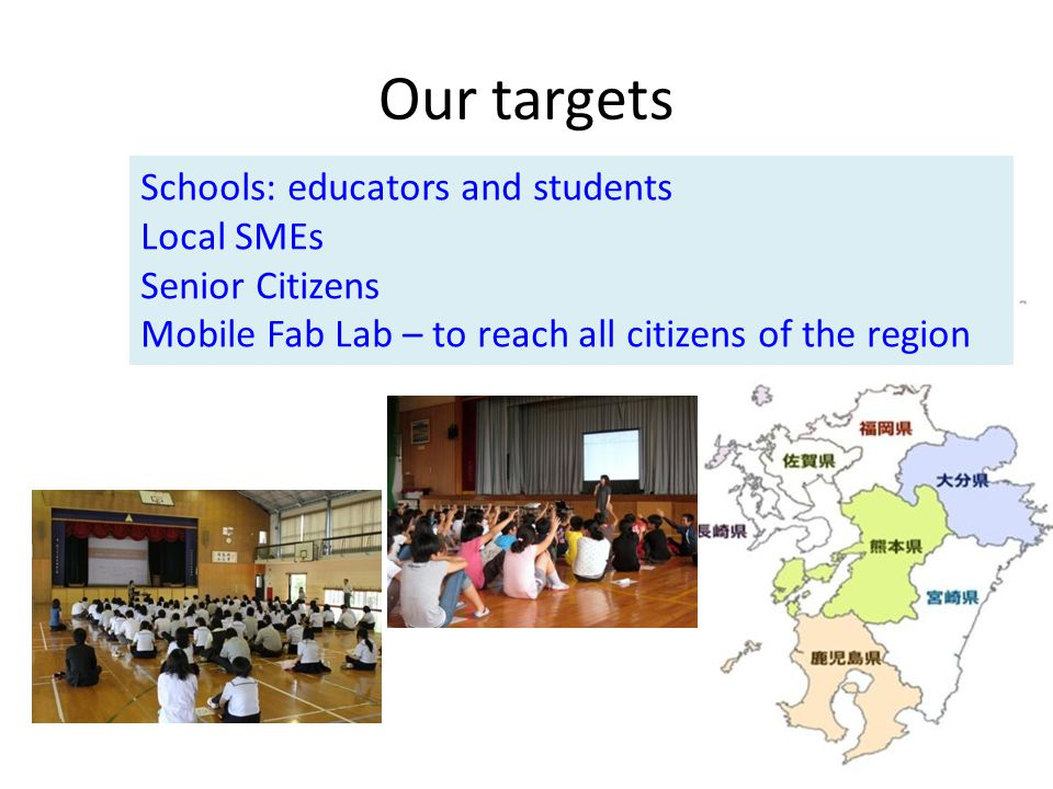 Our targets Schools: educators and students Local SMEs Senior Citizens Mobile Fab Lab – to reach all citizens of the region