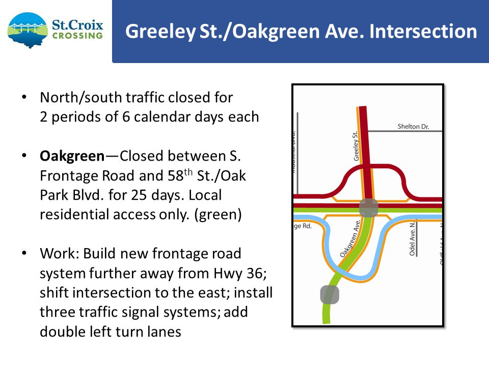 Greeley St./Oakgreen Ave. Intersection North/south traffic closed for 2 periods of 6 calendar days each OakgreenClosed between S. Frontage Road and 58