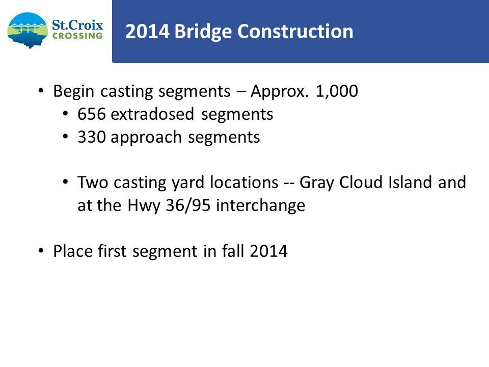 2014 Bridge Construction Begin casting segments – Approx. 1,000 656 extradosed segments 330 approach segments Two casting yard locations -- Gray Cloud