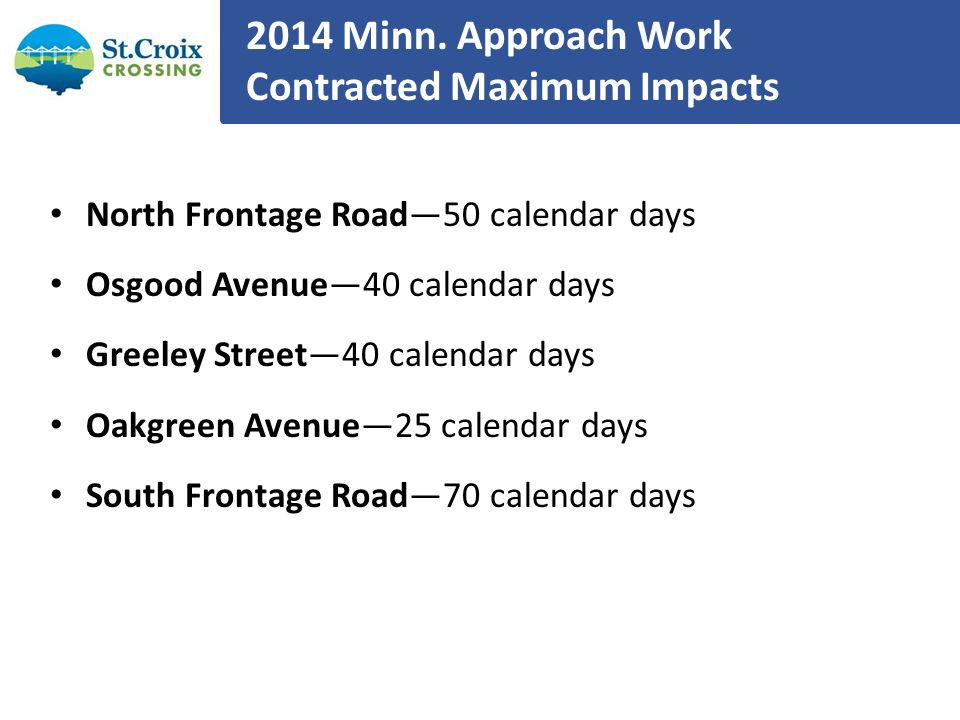 2014 Minn. Approach Work Contracted Maximum Impacts North Frontage Road50 calendar days Osgood Avenue40 calendar days Greeley Street40 calendar days O