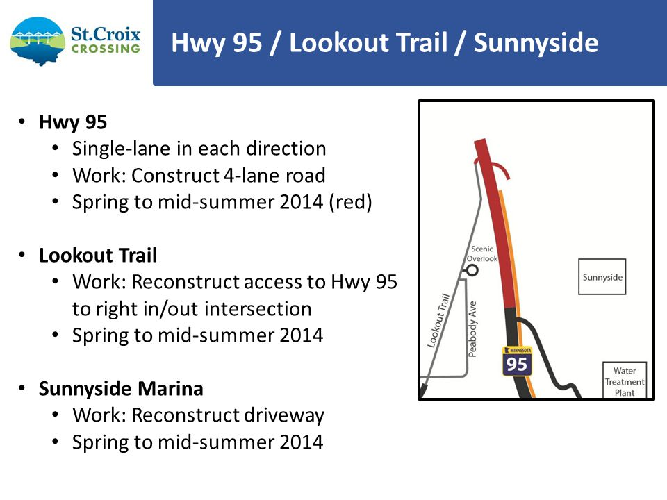 Hwy 95 / Lookout Trail / Sunnyside Hwy 95 Single-lane in each direction Work: Construct 4-lane road Spring to mid-summer 2014 (red) Lookout Trail Work: Reconstruct access to Hwy 95 to right in/out intersection Spring to mid-summer 2014 Sunnyside Marina Work: Reconstruct driveway Spring to mid-summer 2014