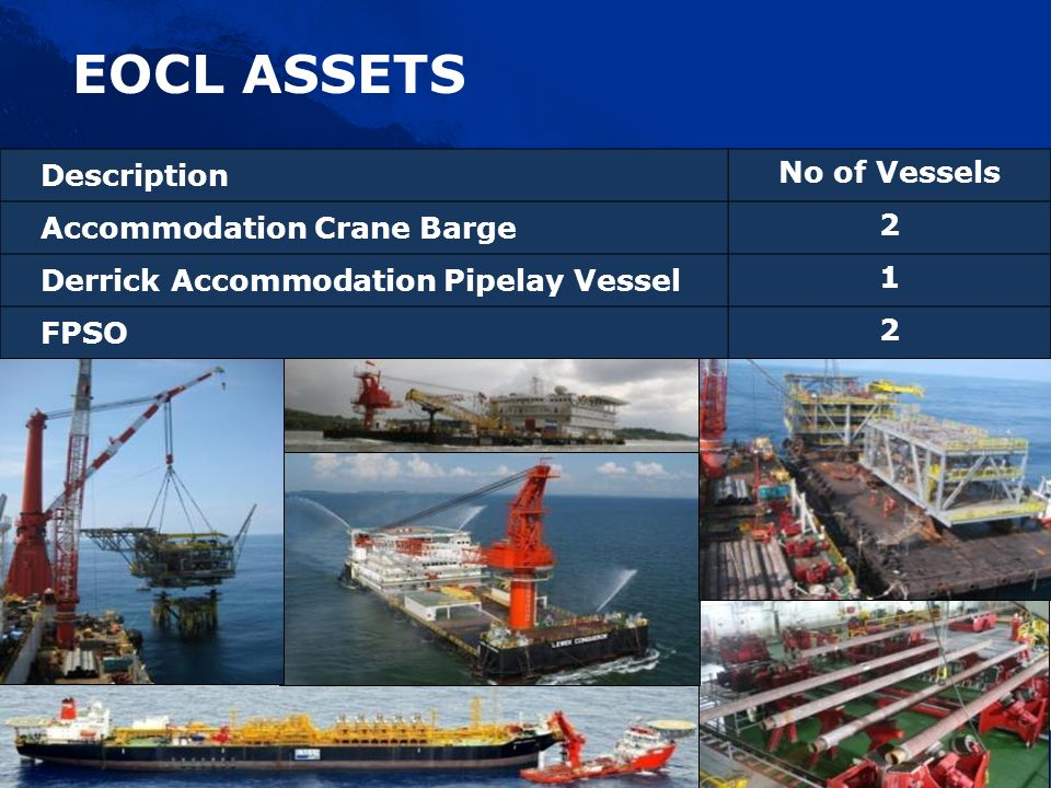 Description No of Vessels Accommodation Crane Barge 2 Derrick Accommodation Pipelay Vessel 1 FPSO 2 EOCL ASSETS