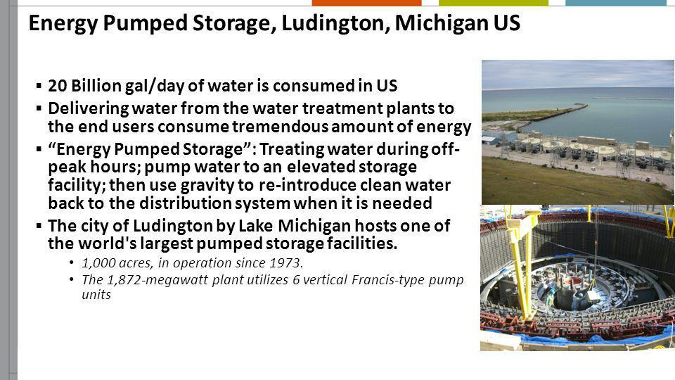 Energy Pumped Storage, Ludington, Michigan US 20 Billion gal/day of water is consumed in US Delivering water from the water treatment plants to the en