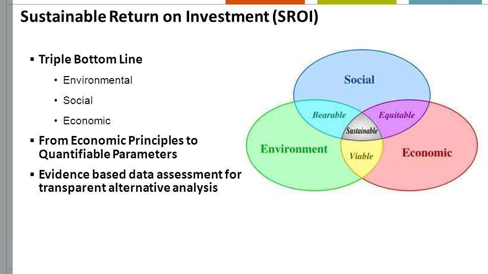 Sustainable Return on Investment (SROI) Triple Bottom Line Environmental Social Economic From Economic Principles to Quantifiable Parameters Evidence
