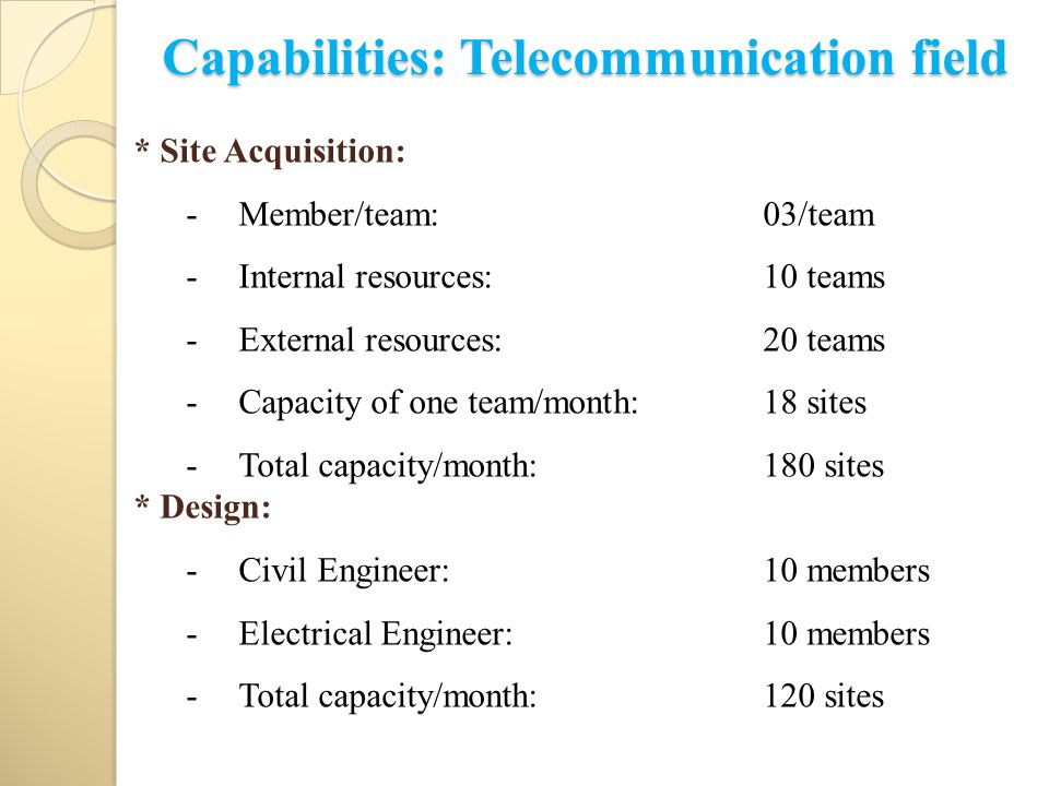 Capabilities: Telecommunication field * Site Acquisition: -Member/team: 03/team -Internal resources:10 teams -External resources: 20 teams -Capacity of one team/month:18 sites -Total capacity/month: 180 sites * Design: -Civil Engineer: 10 members -Electrical Engineer:10 members -Total capacity/month:120 sites