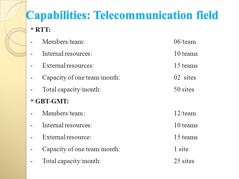 Capabilities: Telecommunication field * RTT: -Members/team: 06/team -Internal resources:10 teams -External resources:15 teams -Capacity of one team/mo