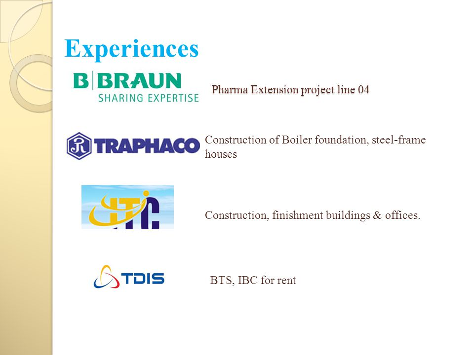 Pharma Extension project line 04 Construction, finishment buildings & offices. Construction of Boiler foundation, steel-frame houses BTS, IBC for rent
