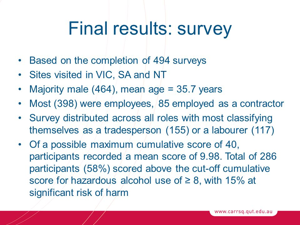 Final results: survey Based on the completion of 494 surveys Sites visited in VIC, SA and NT Majority male (464), mean age = 35.7 years Most (398) wer