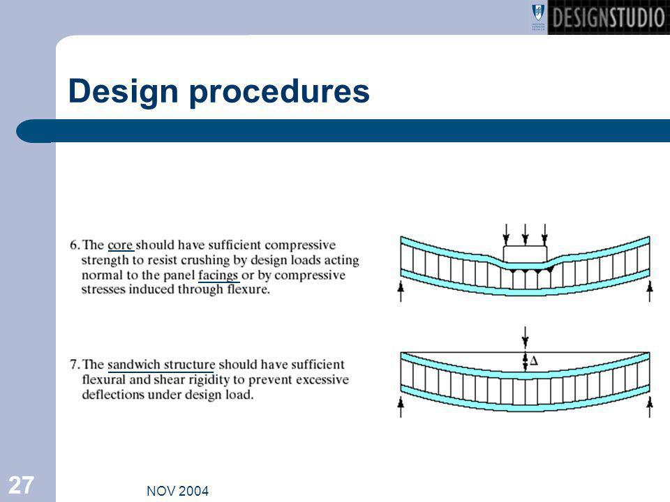 NOV 2004 27 Design procedures