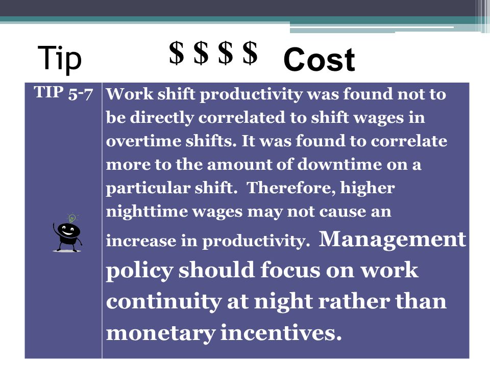 Tip TIP 5-7 Work shift productivity was found not to be directly correlated to shift wages in overtime shifts. It was found to correlate more to the a