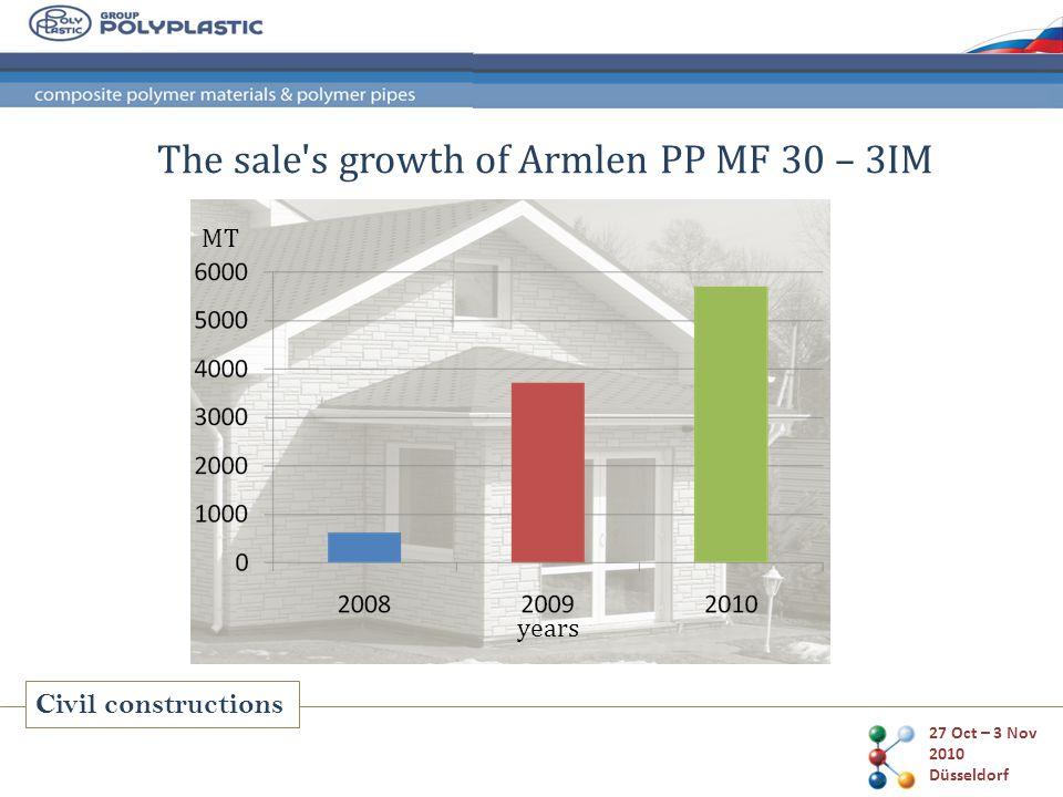 27 Oct – 3 Nov 2010 Düsseldorf Civil constructions The sale's growth of Armlen PP MF 30 – 3IM years MT