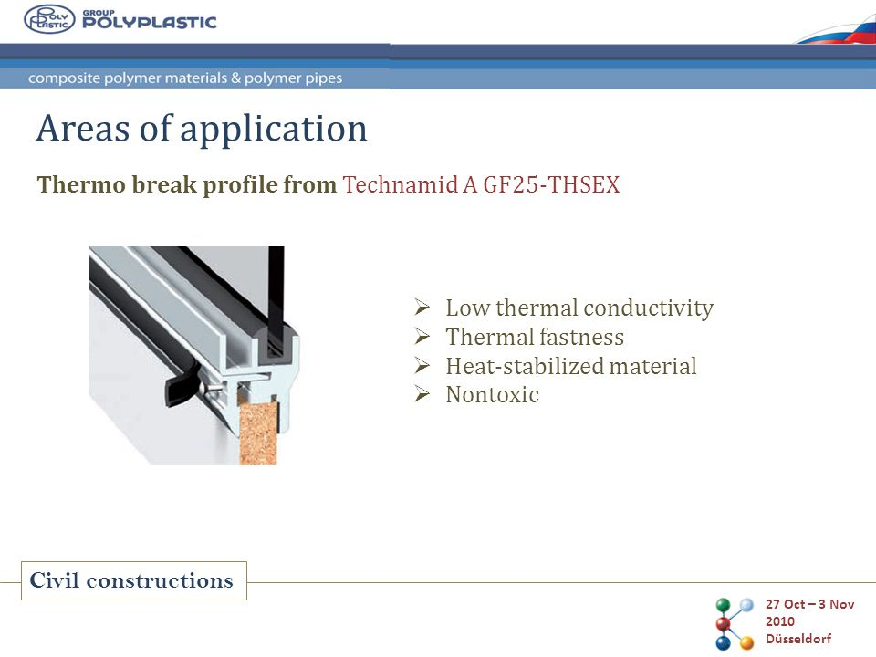 27 Oct – 3 Nov 2010 Düsseldorf Civil constructions Areas of application Thermo break profile from Technamid A GF25-THSEX Low thermal conductivity Thermal fastness Heat-stabilized material Nontoxic